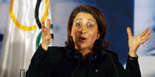 The leader of the International Olympic evaluation committee, Nawal El Moutawake of Morocco, addresses...