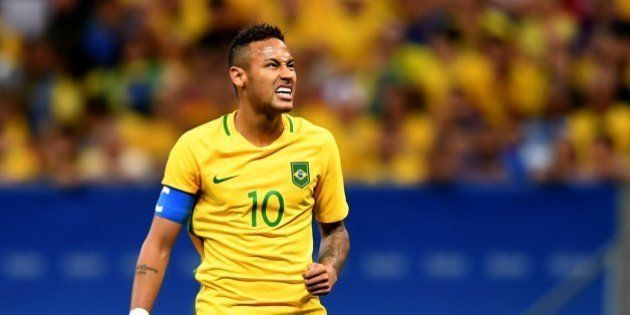 Brazil's player Neymar reacts during the Rio 2016 Olympic Games Men's First Round Group A football match...