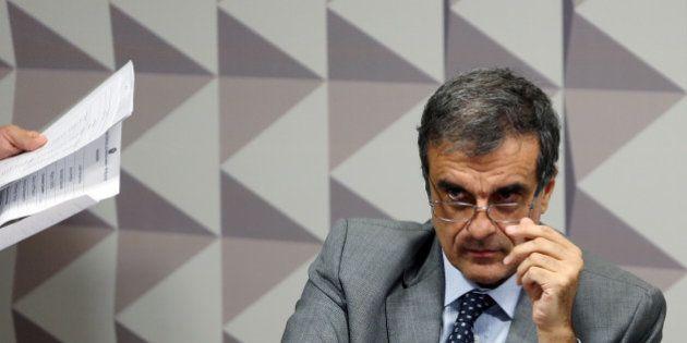 Brazil's General Attorney Jose Eduardo Cardozo reacts as he presents President Dilma Rousseff's defence...