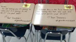 Professora surpreende alunos com mensagens motivacionais em dia de