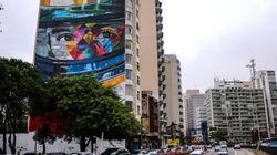 Senna vira grafite gigante na esquina da Avenida Paulista com a
