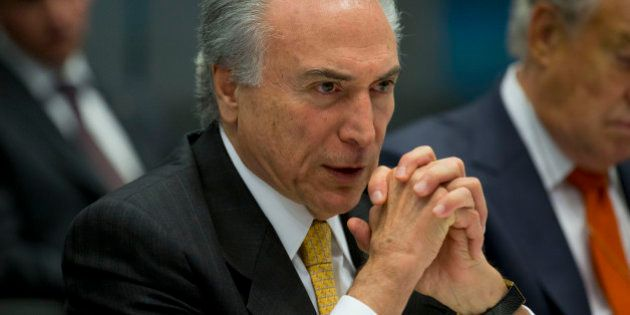 Michel Temer, Brazil's vice president, speaks during an interview in New York, U.S., on Monday, April...