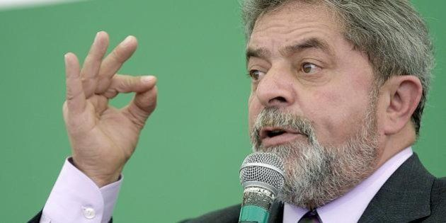 Presidential candidate for Brazil's Workers' Party (PT), Luiz Inácio Lula da Silva, gives a speech during...