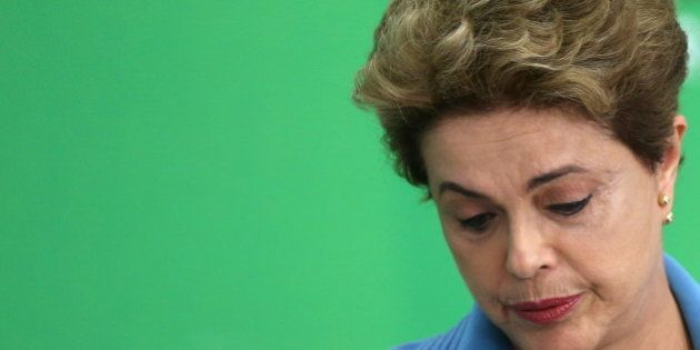 Brazil's President Dilma Rousseff reacts during a news conference at Planalto Palace in Brasilia, Brazil,...