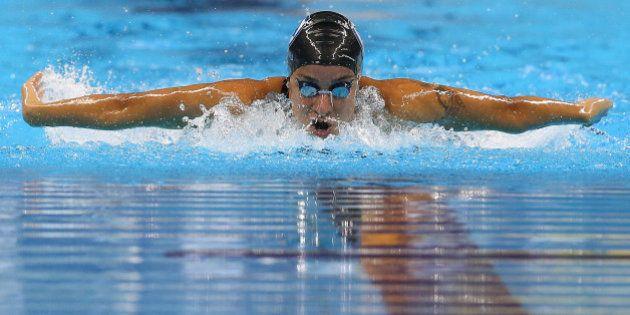 RIO DE JANEIRO, BRAZIL - APRIL 17: Joanna Maranhao of Brazil swims the Women's 200m Medley final during...