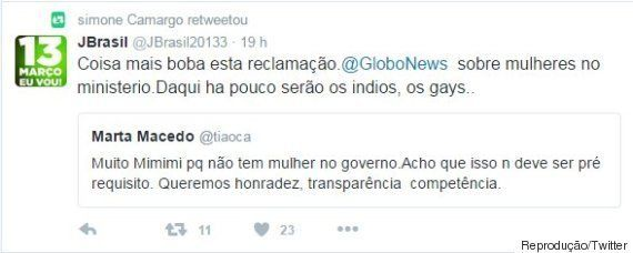 Mulher do novo ministro da Casa Civil retuíta opinião de que ausência de mulheres em governo Temer é