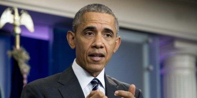 US President Barack Obama speaks during a press conference on the economy in the Brady Briefing Room...