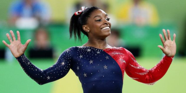RIO DE JANEIRO, BRAZIL - AUGUST 07: Simone Biles of the United States competes on the floor during Women's...