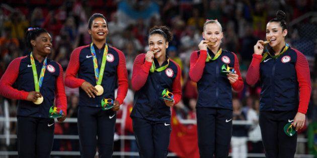 RIO DE JANEIRO, BRAZIL - AUGUST 09: (L to R) Gold Medalists Simone Biles, Gabrielle Douglas, Lauren Hernandez,...