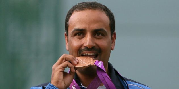 Kuwait's Fehaid al-Deehani, bronze medalist in the men's trap final at the London 2012 Olympic Games...