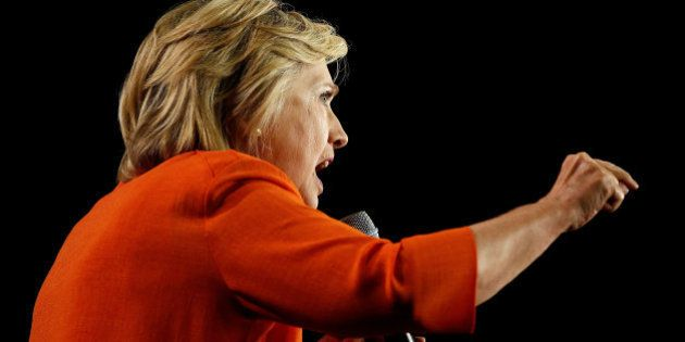U.S. Democratic presidential nominee Hillary Clinton speaks during a campaign rally in Kissimmee, Florida...