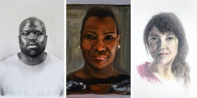 Alguns dos retratos que fazem parte da série Face New York, que utiliza materiais