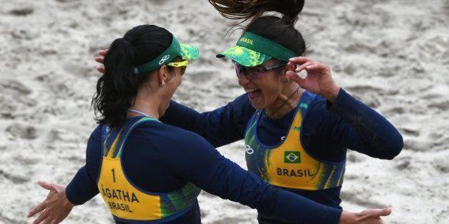 Brazil's Agatha Bednarczuk (L) and Brazil's Barbara Seixas De Freitas celebrate after winning their women's...