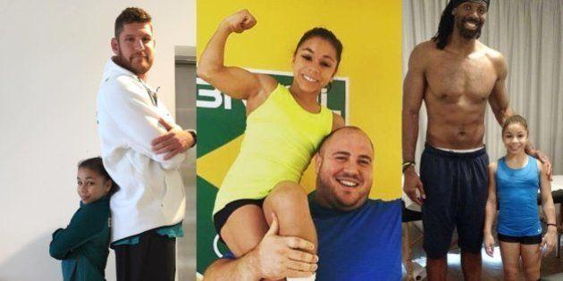 Encontro de gigantes: Ginasta Flavia Saraiva posa com gigantes do Brasil e ganha a