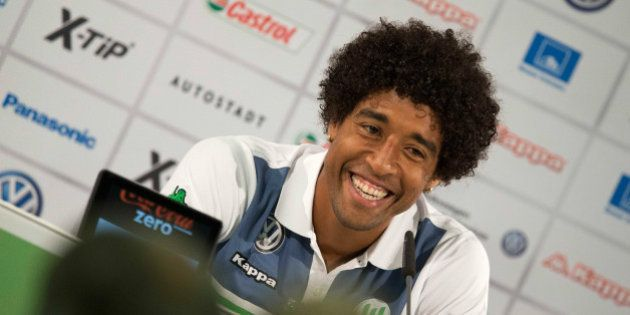 WOLFSBURG, GERMANY - SEPTEMBER 01: Dante of VfL Wolfsburg talks to the media during a press conference...