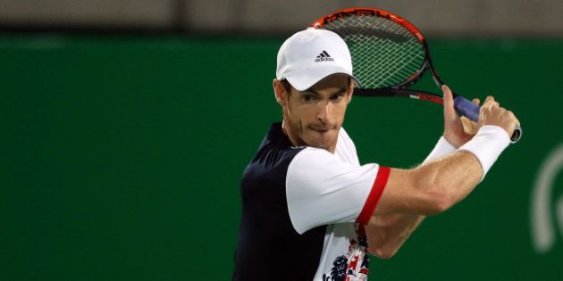 RIO DE JANEIRO, BRAZIL - AUGUST 14: Andy Murray of Great Britain in action during his match with Juan...