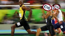 A foto do mito Usain Bolt sorrindo em plena prova rendeu ÓTIMOS