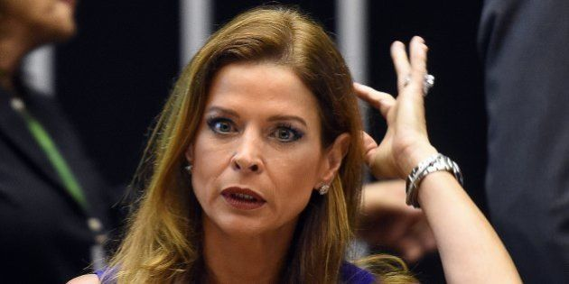 (FILES) Claudia Cruz, wife of suspended president of the Lower House Eduardo Cunha, during a ceremony...