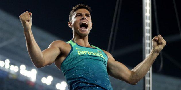 RIO DE JANEIRO, BRAZIL - AUGUST 15: Thiago Braz da Silva of Brazil reacts while competing in the Men's...