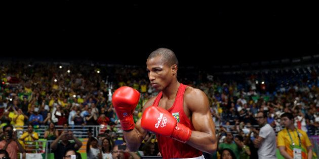 RIO DE JANEIRO, BRAZIL - AUGUST 16: Robson Conceicao of Brazil walks out prior to the Men's Light (60kg)...