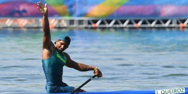 Isaquias Queiroz Dos Santos competes in the Men's Canoe Single (C1) 200m event at the Lagoa Stadium during...