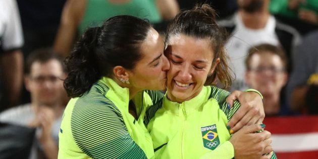 RIO DE JANEIRO, BRAZIL - AUGUST 17: Silver medalists Agatha Bednarczuk Rippel and Barbara Seixas de Freitas...