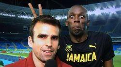 Rei da zoeira: Bolt faz 'chifrinho' em repórter da ESPN após ganhar