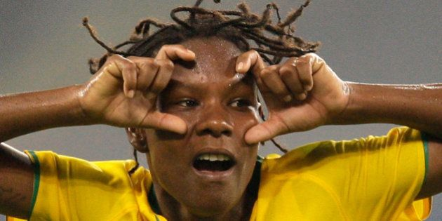 Brazil's Formiga celebrates after scoring their first goal against Germany during their semifinals soccer...
