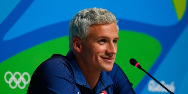 RIO DE JANEIRO, BRAZIL - AUGUST 12: Ryan Lochte of the United States attends a press conference in the...