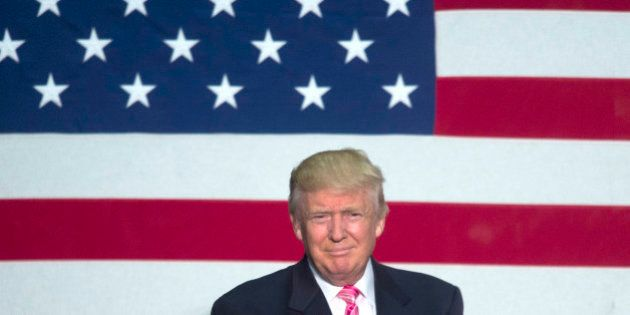 FREDERICKSBURG, VA - AUGUST 20: GOP nominee Donald Trump holds a rally in Fredricksburg, VA on August...
