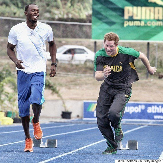 Príncipe Harry relembra corrida com Bolt no Twitter e o desafia a competir
