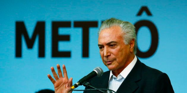Brazil's interim President Michel Temer attends an event to open the Metro Line 4 built for the Rio de...