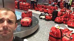 'Alguém viu minha mala?' Bagagem idêntica da delegação britânica causa alvoroço em