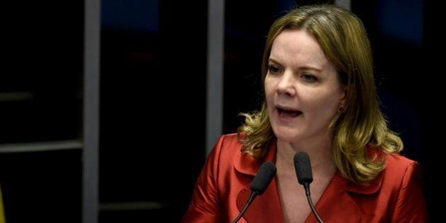 Senator Gleisi Hoffmann attends a debate of a vote on suspending Brasilian President Dilma Rousseff and...