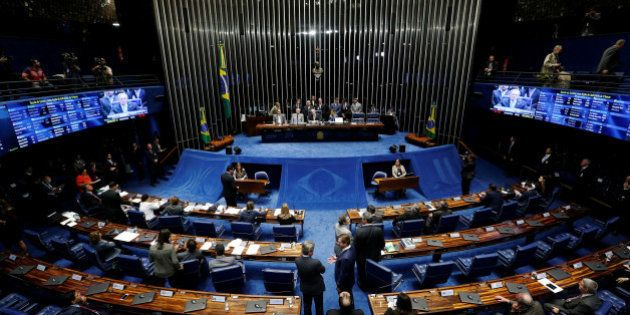 General view of Brazil's Senate during a final session of debate and voting on suspended President Dilma...