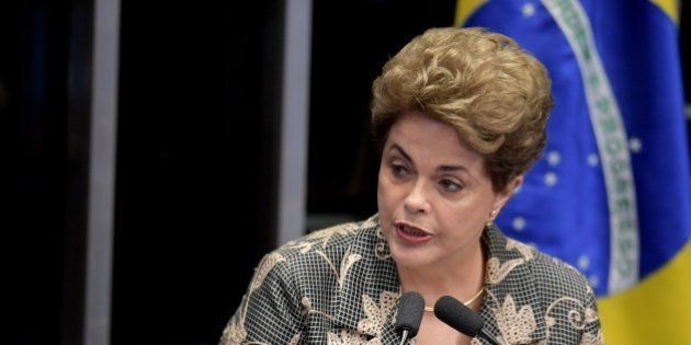Suspended Brazilian President Dilma Rousseff delivers a speech during her testimony on the impeachment...