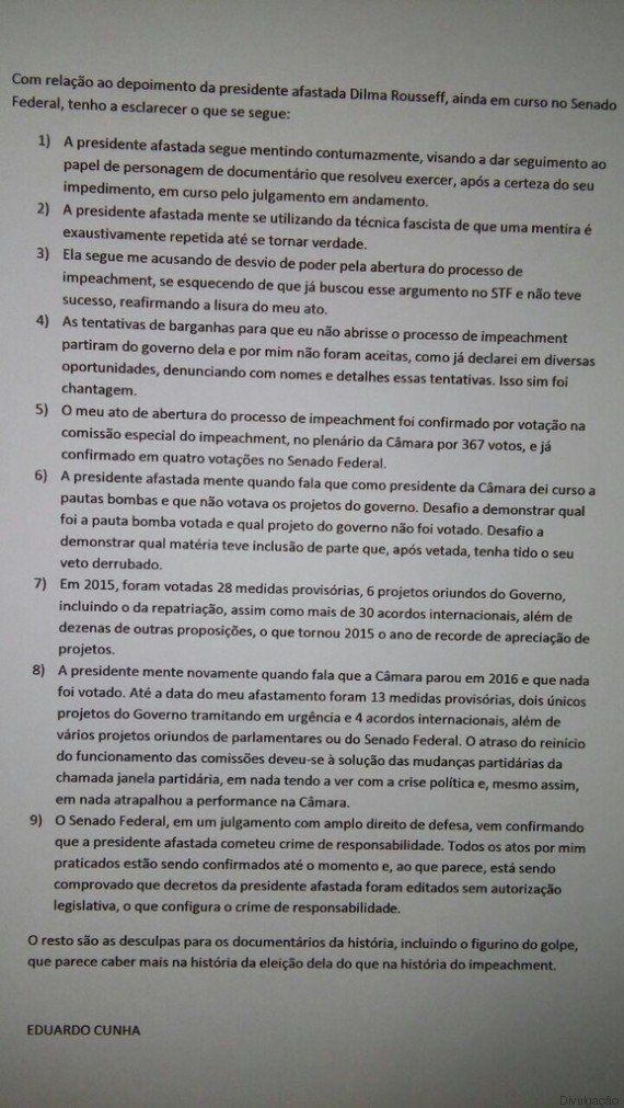 Cunha diz que Dilma mente 'contumazmente' e afirma que foi vítima de