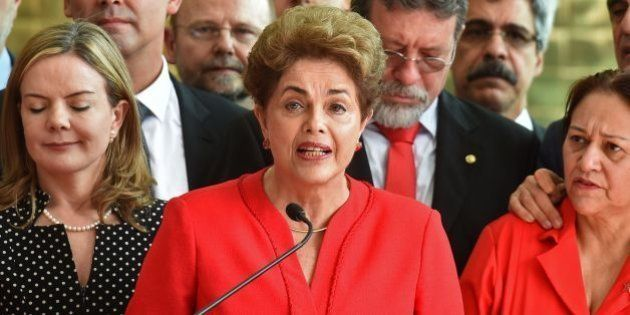 Brazil's former Dilma Rousseff speaks at the Alvorada presidential palace in Brasilia after she was stripped...