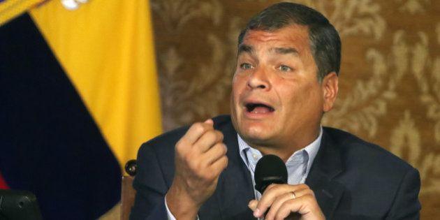 President of Ecuador, Rafael Correa met with internacionles news agencies in the Carondelet Palace, dutante...