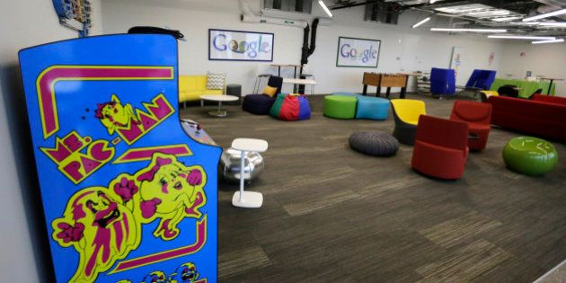 This photo shows a recreation space at the new Google Chicago headquarters Thursday, Dec. 3, 2015, in...