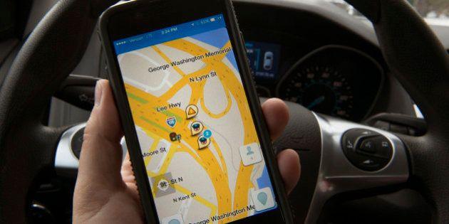 WASHINGTON, DC - JANUARY 27: Screen view of the WAZE traffic gps app on an iphone on January 27, 2015....