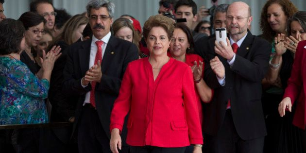 Brazil's ousted President Dilma Rousseff arrives at the official residence of the president, Alvorada...