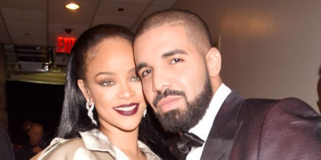 NEW YORK, NY - AUGUST 28: (EXCLUSIVE COVERAGE) Rihanna and Drake pose backstage during the 2016 MTV Video...