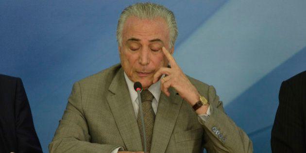 BRASILIA, BRAZIL - DECEMBER 15: Brazilian President Michel Temer attends a press conference of the Brazilian...