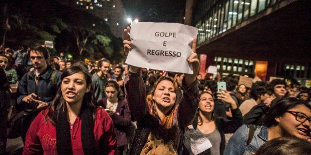 SAO PAULO, BRAZIL - SEPTEMBER 01: Demonstrators shout slogans during a protest against Brazil's President...