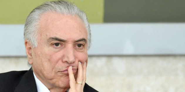 Brazilian President Michel Temer attends a ceremony to award the Colombian authorities involved in the...
