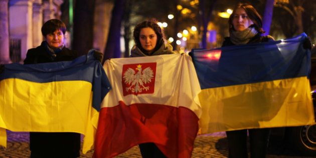 UKRANIAN EMBASSY, WARSAW, POLAND - 2016/11/21: People gathered in front of the Ukrainian Embassy in Warsaw...