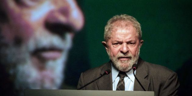 Brazil's former president (2003-2011) Luiz Inacio Lula da Silva speaks during the second congress of...