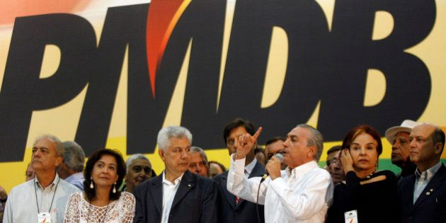 President of Brazilian Democratic Movement Party (PMDB) Michel Temer (3rd R) speaks during the national...