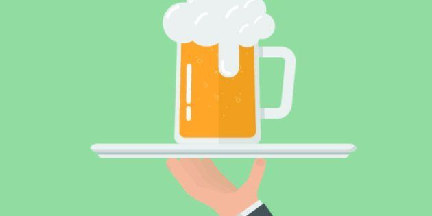 hand of businessman holding Serving tray,beer in mug glass on Serving tray,flat design,vector eps
